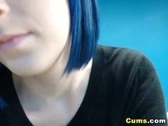 Blue Haired Babe Sucking a Dildo