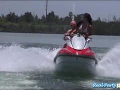 Hotties Eva Saldana and Tiff Bannister foursome in the boat
