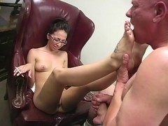 A great sexy footjob by a tight skinny MILF nerdy babe