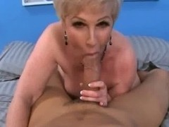 Nasty mature sucking a big cock before getting banged
