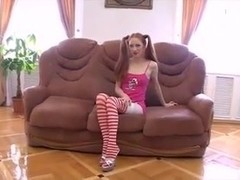 D's Favorites: Skinny Pigtailed Redhead wearing Stockings
