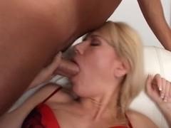 Handsome German lady parks 2 jocks in her dick-garage