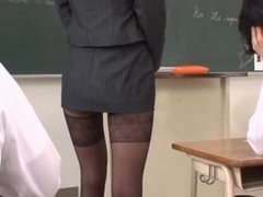 Haruka Sanada Asian teacher has a tight sexy skirt