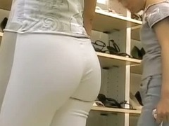 Street candid booty in tight white pants