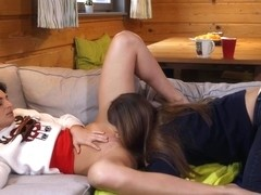 Leanne Lace And Tasty Stacey In Brunette Chicks Cuddle On Couch And Orgasm In A 69 Scene