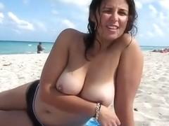 My girl exposes beautiful boobies in Miami Beach