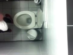 Toilet ceiling cam films girls pissing