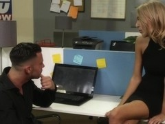 Blonde jizzed in office