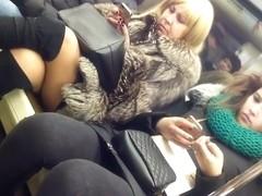 Mature legs on train