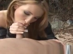 Pretty Blonde Sucking Dick For Cash Outdoors In Public