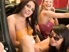 Two sexy girls fuck for cash