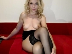Milf Babe In Pink Stockings Rubs Pussy Solo