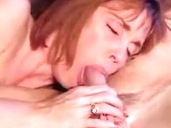 Redhead mother I'd like to fuck blows him unfathomable and receives jizz flow in her face hole