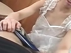 Japanese cougar in silk sucks a large knob for juice