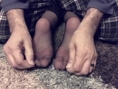 Wife's Nylon Feet Tickled In Toes Cuffed