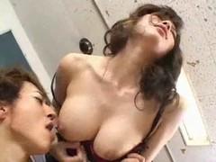 Delicious breasty Japanese teacher's hawt bushy vagina