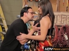 Big Tits Brunette Raylene Sucks and Fucks in the Garage