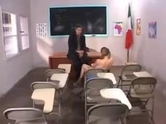 Teacher Bows Beauty over Desk and Spanks her by snahbrandy