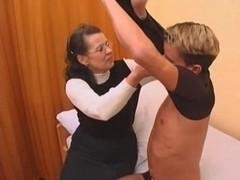 Granny in stockings fucked