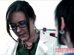 Nikki gets scissor sex by doctors order in the clinic