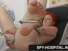 Pale skin redhead clinic spy cam video