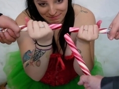 Slutty Elf Candy Cane Blowbang with Whipped Cream Bukkake