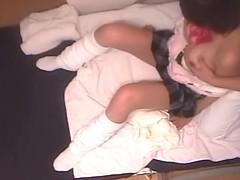 Big butt Japanese bimbo gets in a voyeur massage fun