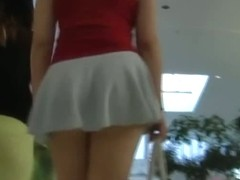 Supermarket voyeur follows a lot of skin showing chubby asian girls