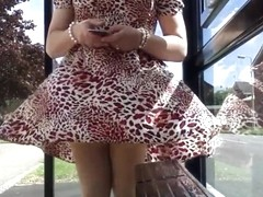 red dress tan stockings windy upskirt stockings