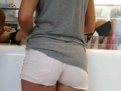 Sexy ass in white shorts hot