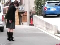 Cute Asian girl got her booty out in public sharking.