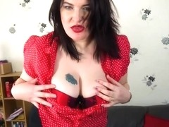 Mature brunette with big boobs, DeeDee likes to drill her pussy with a sex toy, all day