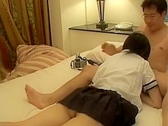 Barely legal Japanese playgirl is group-screwed by mature boyfrend