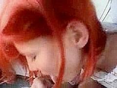 Truly Beautiful Redhead GF Sucks In Car
