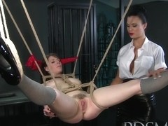BDSM XXX Dom makes suspended subs pussy squirt