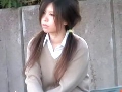 Pig-tailed oriental beauty gets her boobs licked by some stranger