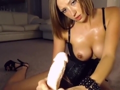 Leather CamGirl JOI Dildo Handjob