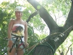 Sexy blonde with big ass Brandy Smile enjoys extreme sports on the open air