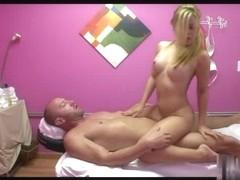 Blond Curvy Oriental Bonks Massage Client