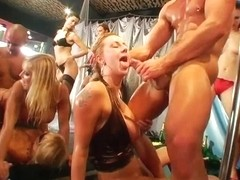 Sexy sluts suck and fuck dicks in public