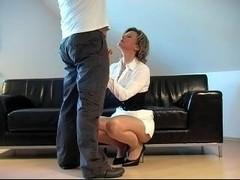 German Fantastci Cook Jerking in front of him white suit heels