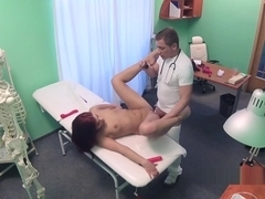 Doctor toys and fucks redhead babe