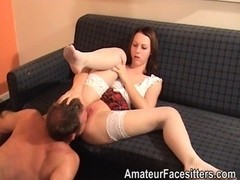 Student makes trainer take up with the tongue and rim her