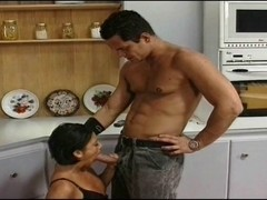 Double fuck movie with blowjob in the kitchen