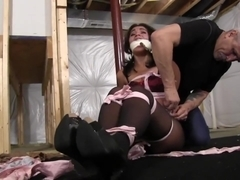 abducted sahrye kept mouth stuffed gagged and hogtied