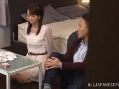 Voluptuous Japanese teen Asuka Hoshino rides hard rod