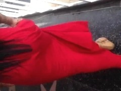 Sexy ass in red dress