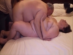 Mature fat woman has fun with a horny old guy