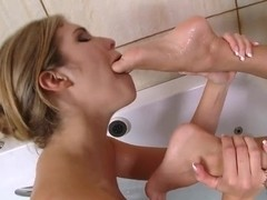 Gorgeous babes Anissa Kate and Eva Parcker dabble in the bathroom with their pussies