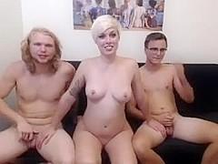 short blonde takes on 2 dicks